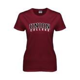 Ladies Maroon T Shirt-Arched Union College