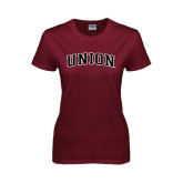 Ladies Maroon T Shirt-Arched Union