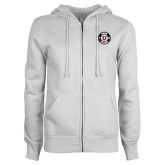 ENZA Ladies White Fleece Full Zip Hoodie-U Hot Pink Glitter