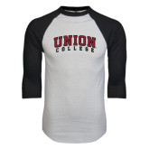 White/Black Raglan Baseball T-Shirt-Arched Union College