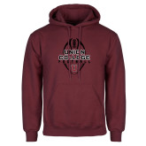 Maroon Fleece Hoodie-Tall Football Design