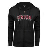 ENZA Ladies Black Fleece Full Zip Hoodie-Arched Union College