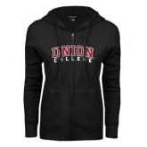 ENZA Ladies Black Fleece Full Zip Hoodie-Arched Union College