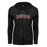 ENZA Ladies Black Fleece Full Zip Hoodie-Arched Union