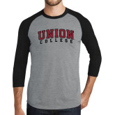 Grey/Black Tri Blend Baseball Raglan-Arched Union College