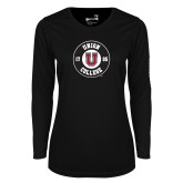 Ladies Syntrel Performance Black Longsleeve Shirt-Official Logo