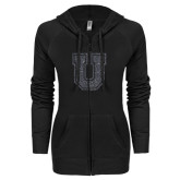 ENZA Ladies Black Light Weight Fleece Full Zip Hoodie-U Graphite Soft Glitter