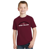 Youth Maroon T Shirt-Wide Football Design