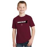 Youth Maroon T Shirt-Hockey Sticks
