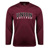 Syntrel Performance Maroon Longsleeve Shirt-Arched Union College