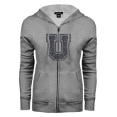ENZA Ladies Grey Fleece Full Zip Hoodie-U Graphite Soft Glitter
