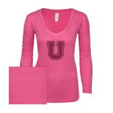 ENZA Ladies Hot Pink Long Sleeve V Neck Tee-U Hot Pink Glitter