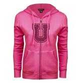 ENZA Ladies Fuchsia Fleece Full Zip Hoodie-U Hot Pink Glitter