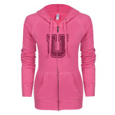 ENZA Ladies Hot Pink Light Weight Fleece Full Zip Hoodie-U Hot Pink Glitter