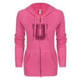 ENZA Ladies Hot Pink Light Weight Fleece Full Zip Hoodie-U Hot Pink Glitter