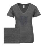 ENZA Ladies Graphite Melange V Neck Tee-U Graphite Soft Glitter
