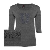 Ladies Charcoal Heather Tri Blend Lace 3/4 Sleeve Tee-U Graphite Soft Glitter