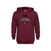Youth Maroon Fleece Hoodie-Tall Football Design