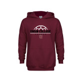 Youth Maroon Fleece Hoodie-Soccer Ball on Top