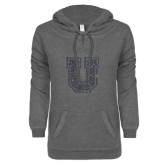 ENZA Ladies Dark Heather V-Notch Raw Edge Fleece Hoodie-U Silver Soft Glitter