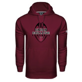 Under Armour Maroon Performance Sweats Team Hoodie-Tall Football Design