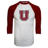 White/Maroon Raglan Baseball T Shirt-U