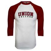 White/Maroon Raglan Baseball T Shirt-Arched Union College