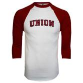 White/Maroon Raglan Baseball T Shirt-Arched Union