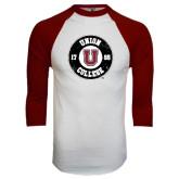 White/Maroon Raglan Baseball T Shirt-Official Logo Distressed