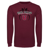 Maroon Long Sleeve T Shirt-Graphics in Basketball