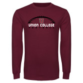 Maroon Long Sleeve T Shirt-Wide Football Design