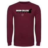 Maroon Long Sleeve T Shirt-Hockey Sticks