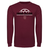 Maroon Long Sleeve T Shirt-Soccer Ball on Top