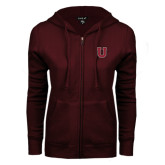 ENZA Ladies Maroon Fleece Full Zip Hoodie-U
