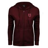 ENZA Ladies Maroon Fleece Full Zip Hoodie-U