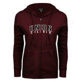 ENZA Ladies Maroon Fleece Full Zip Hoodie-Arched Union College