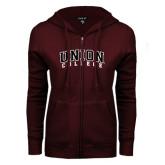ENZA Ladies Maroon Fleece Full Zip Hoodie-Arched Union College