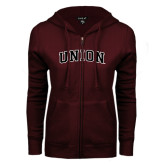ENZA Ladies Maroon Fleece Full Zip Hoodie-Arched Union
