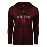 ENZA Ladies Maroon Fleece Full Zip Hoodie-Graphics in Basketball
