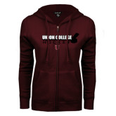 ENZA Ladies Maroon Fleece Full Zip Hoodie-Hockey Sticks