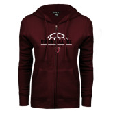 ENZA Ladies Maroon Fleece Full Zip Hoodie-Soccer Ball on Top
