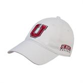 White Twill Unstructured Low Profile Hat-U