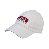 White Twill Unstructured Low Profile Hat-Arched Union College