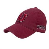 Maroon Twill Unstructured Low Profile Hat-U