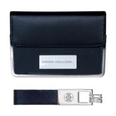 Business Card Case and Key Ring Set Black-Union College Flat Engraved