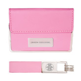 Business Card Case and Key Ring Set Pink-Union College Flat Engraved