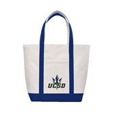 Contender White/Navy Canvas Tote-UCSD w/Trident