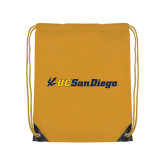 Gold Drawstring Backpack-UC San Diego Primary Mark