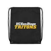 Black Drawstring Backpack-UC San Diego Tritons Mark