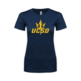 Next Level Ladies SoftStyle Junior Fitted Navy Tee-UCSD w/Trident
